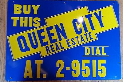 Vintage Real Estate Sign Queen City Rochester Mn. Paint On Tin