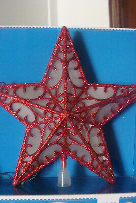 Christmas Led Lighted Red Glitter Star Tree Top Topper Window Battery Operated