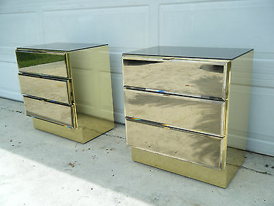 Pair Of Vintage Smoked Mirror 3 Drawer With Brass Nightstands