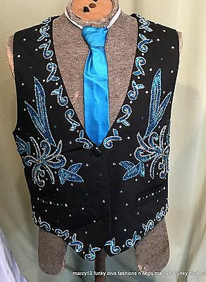 Vintage Men's Over the Top Turquoise & Black Sequined Costume Vest Chest 42