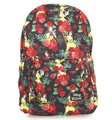 $ New LOUNGEFLY School Bag DISNEY Backpack BEAUTY AND THE BEAST Belle Rose