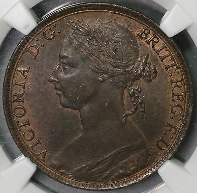 1890 NGC MS 62 Penny Victoria GREAT BRITAIN Coin (16102609C)