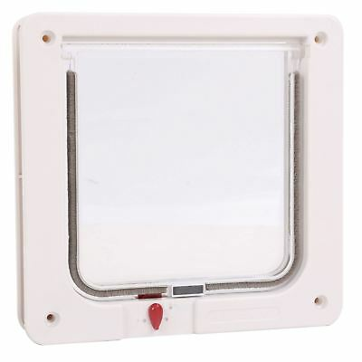 White Small Dog Cat Pet Door With Transparent Clear Flap Lid 4 way Safety Locks