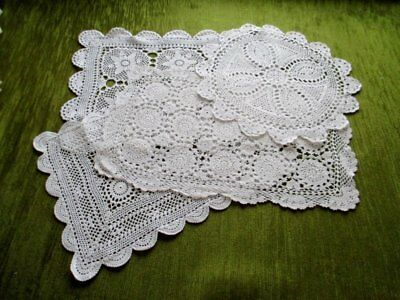 Vintage Tray Cloths & Table Center - Hand Crochet - Coll. Of 4