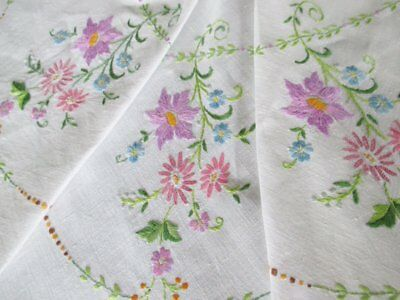 """VINTAGE TABLECLOTH-HAND EMBROIDERED FLOWERS-LINEN-50""""sq."""