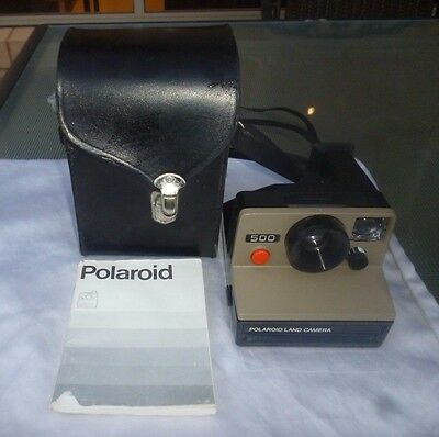 VINTAGE POLAROID 500 LAND CAMERA With CASE & MANUAL