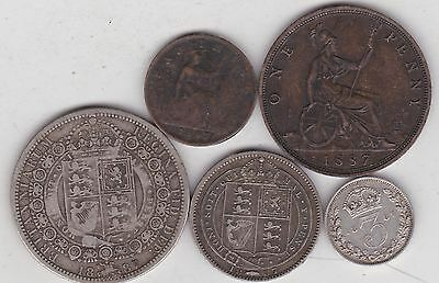Five Victorian 1887 Coins In A Used Fine Or Better Condition