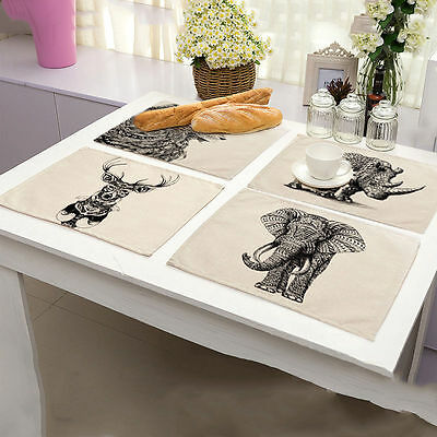Art Sketch Animal Placemats Cotton Linen Heat Insulation Kitchen Dining Tablemat