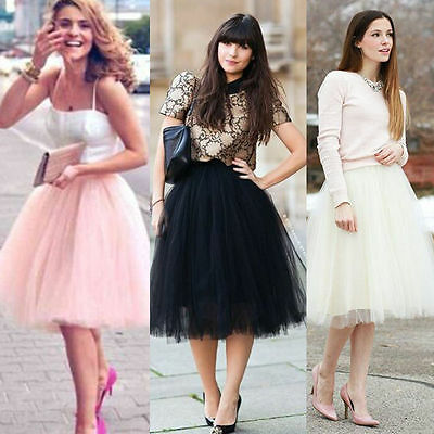 Women Ladies Tulle Skirt Vintage Tutu Petticoat Ball Gown Prom Dress Puffy Party