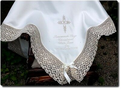 BAPTISM Christening white ivory baby BLANKET personalised gold silver pink blue