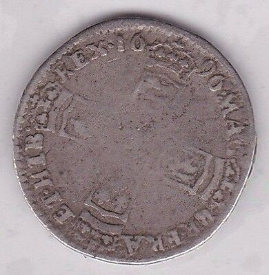 1696 William Iii Sixpence In A Well Used Condition
