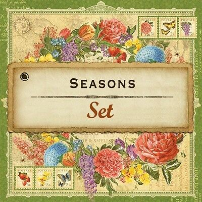 Graphic 45 SEASONS (8) 12x12 Paper Collection Spring Summer Winter Autumn Fall