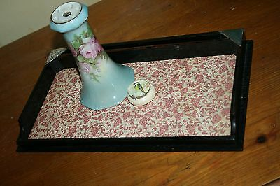 Vintage Antique Wood Tray Solid Silver Corners 1919 Boudoir Dressing Table Tidy
