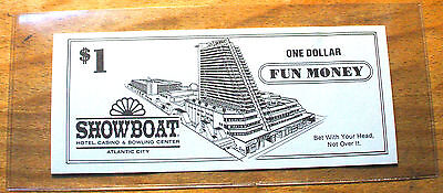 $1. SHOWBOAT CASINO Fun Money - 1987 - ATLANTIC CITY, New Jersey