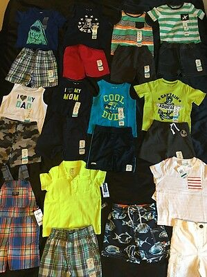 NWT Boys 24 Month Spring Summer Lot Carter's Outfits Oshkosh Swim Trunks Overall