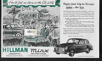 Hillman Minx Sedan 4 Door For 1953 Rootes Motors Inc European Delivery Ad