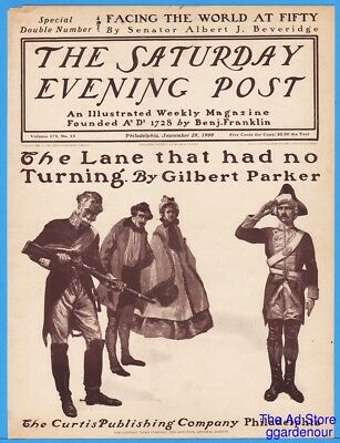 1900 Saturday Evening Post COVER ONLY British Soldiers With Gun Period Art 9/29