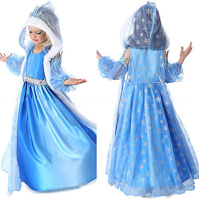 Frozen Queen Elsa Fancy Dress Up Costume Fur Hooded Cape Disney Cosplay Dresses