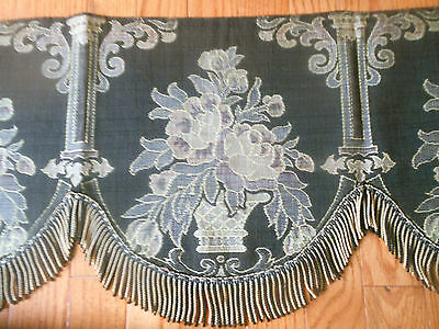 Antique Basket Roses Column Scroll Tapestry Fabric Valance Pelmet ~ Dk Brown