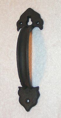 Vintage Black iron sturdy Vintage Colonial style Barn Door Gate Handle pull 8""