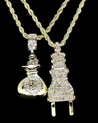 "Mens 14k Gold Plated 2 pc Set Icy Plug & Money Bag 3mm 24"" Ball Franco Chains"