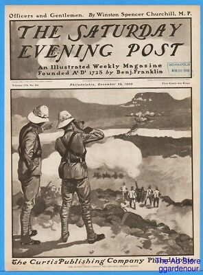 1900 Saturday Evening Post COVER ONLY George Gibbs War Canon Art 12/29 British