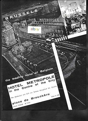 The Hotel Metropole Brussels Belgium 1959 In The Center Of The City Ad