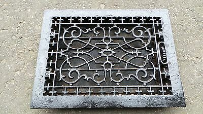 Vintage VICTORIAN Cast Iron Floor Grille 16x12 Heat Grate Register with Louvers