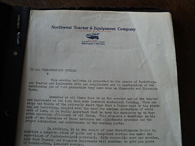 Vintage Northwest Tractor and Equipment Letter  Service Bulletin Ford Tractors