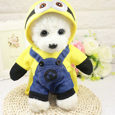 UK Pet Dog Cat Puppy Halloween Minions Dog Costumes Hooded Coat Jacket Apparel