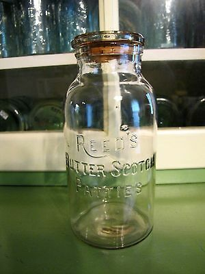 Vintage Antique Reed's Butter Scotch Patties Counter Candy Jar Half Gallon