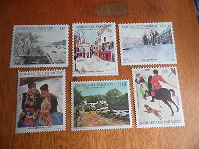 nickstampshop ~~ Paraguay ~ MH Set of 6 ~ Art/Paintings