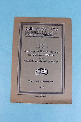 Vintage 1924 Carl Zeiss Jena Microscope Arc Lamp & Projection Manual Catalog