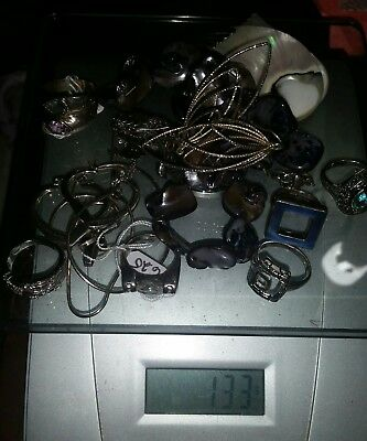 Estate Large .925 Sterling silver No scrap lot grams Rings,Earrings,Necklaces