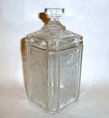 "Antique Victorian 6 1/2"" tall Covered Clear Glass Floral Embossed Vanity Jar"