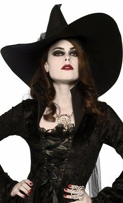 Witches Hat and Drape Adult Classic Black Wicked Witch Wizard of Oz - Fast -