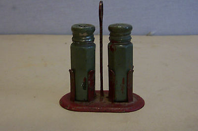 Vintage painted glass salt and pepper shakers with metal holder
