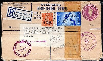 """Uk 1957 Registered Censored Mixed Franking Cover """"e.a.f."""" 2 1/2 East African For"""