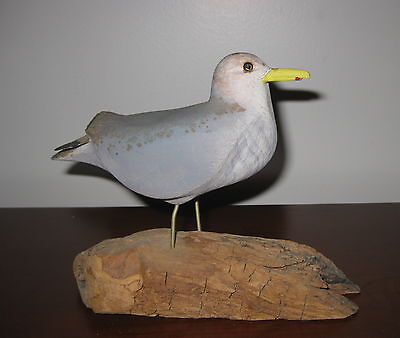 Signed Adams Decoy Wood Carving Duck Bird Gull Sea Sculpture Seagull