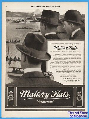 1915 Mallory Hats Derby Bowler Mens Fedora Vintage Cravenette Sculling Rowing Ad