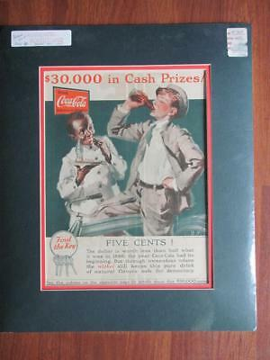 Vintage Matted 1927 Coca Cola Prize Contest Advertisement Black Americana
