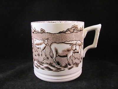 Antique 19thC Early Brown Transferware Mug Tankard Cows Cattle Pattern 3 in