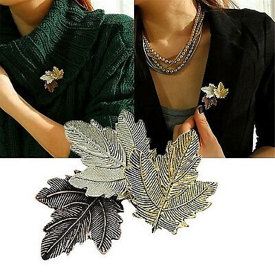 Womens Fashion Jewelry Vintage Brooch Gold/Silver Plated Maple Leaf Brooches Pin