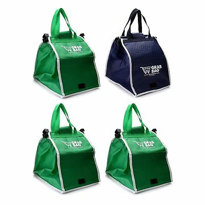 Grab Bag 4-pk Expandable Reusable Shopping Bags w/ Cart Clips Green / Blue  New