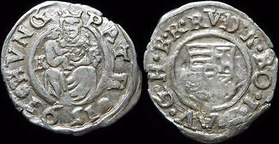 Medieval Hungary Silver Denar Rudolf 1576-1608AD Dated 1591 Coat of Arms