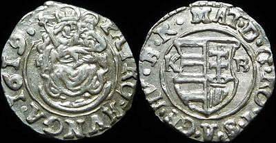 Medieval Hungary Silver Denar Matthias 1608-1620 AD Dated 1619 Coat of Arms