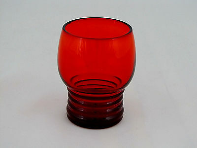 """JUICE GLASS with Ribbed Bottom in Ruby Glass, 4 oz,  3 1/8"""" tall"""