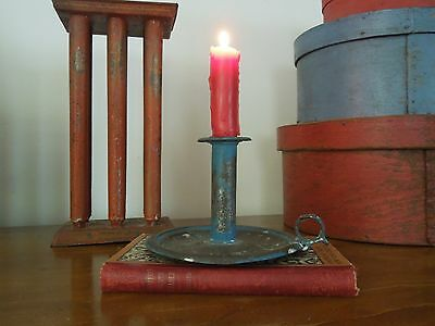 AAFA Blue Paint 19th Century Antique Primitive Push Chamberstick Candle Holder