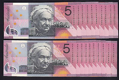 R-219.  2001 $5 - MacFarlane/Evans. Federation x 20 Notes.  Vari Prefixes.. UNC