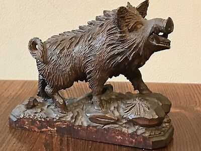 Black Forest Wood carving of Wild Boar